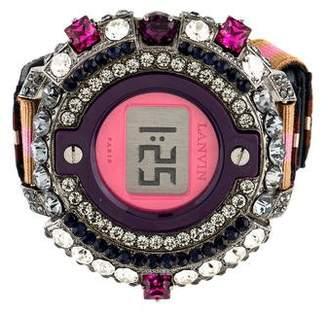 Lanvin Crystal Embellished Watch Style Bracelet