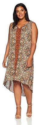 Karen Kane Women's Plus Size V-Neck HI-LO Dress