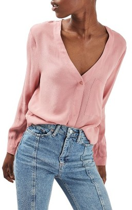 Women's Topshop Crop Slouch Pocket Blouse $60 thestylecure.com