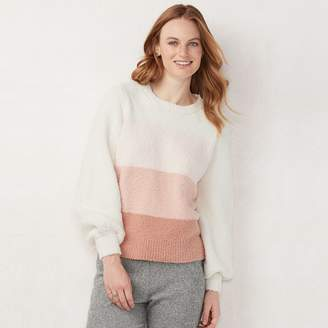Lauren Conrad Women's Fuzzy Balloon-Sleeve Sweater
