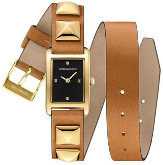 Rebecca Minkoff Moment Gold Tone Studded Leather Wrap Watch, 19Mm X 30Mm