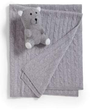 Sofia Cashmere Two-Piece Cashmere Baby Blanket& Teddy Bear Set