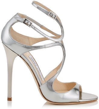 Jimmy Choo LANCE Silver Liquid Mirror Leather Sandals