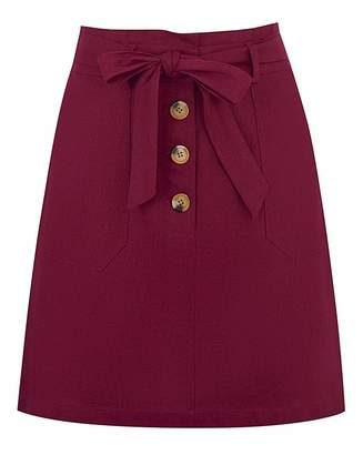 Oasis Belted Paperbag Linen Skirt