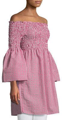 Max Studio Off-The-Shoulder Bell-Sleeve Gingham Dress