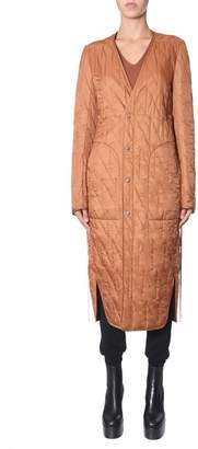 Rick Owens Long Quilted Single Breasted Coat