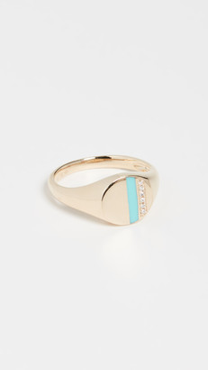 Ef Collection 14k Diamond & Enamel Stripe Signet Ring