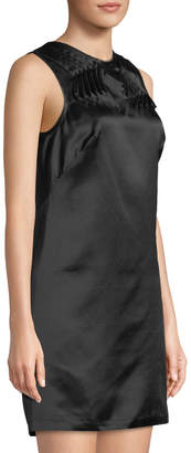 Leon Max Sleeveless Satin Silk Dress W/ Pleated Yoke