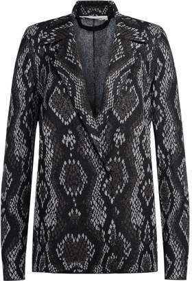 Circus Hotel Black And Grey Fabric Blazer With Snake Skin Effect