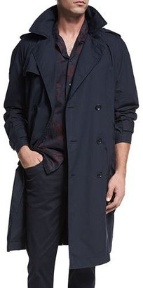 Vince Classic Double-Breasted Trench Coat, Coastal Blue $595 thestylecure.com