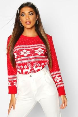 boohoo Reindeer Fairisle Christmas Jumper