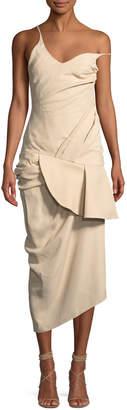 Jacquemus La Robe Sol Gathered One-Shoulder Midi Dress