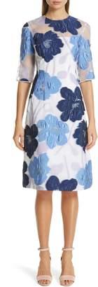 Lela Rose Oversize Floral Fil Coupe A-Line Dress