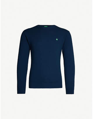 Benetton Unisex logo-embroidered wool-blend jumper