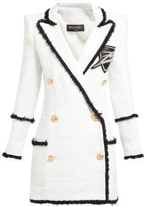606b5d49 Balmain Double Breasted Tweed Blazer Dress - Womens - White Black