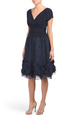 Short Sleeve Ruched Rosette Party Dress