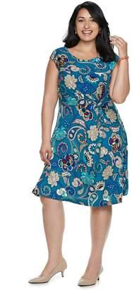 Dana Buchman Plus Size Twist Knot Fit & Flare Dress