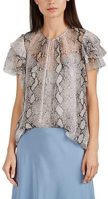 Zimmermann Women's Ruffled Python-Print Silk Blouse