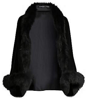 Adrienne Landau Women's Fox Fur-Trimmed Long-Sleeve Velvet Shrug