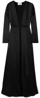 Leone we are Silk-charmeuse Robe - Black