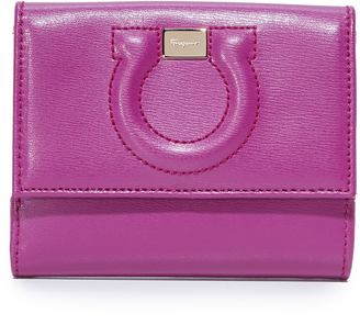 Salvatore Ferragamo Embossed Gancini Mini Wallet $395 thestylecure.com