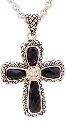 Candela Andrea La Fe 18K & Silver Diamond & Onyx Doublet Cross Necklace