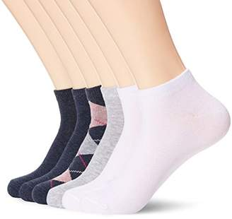 Toes in A Blanket Women's Ladies cotton ankle socks with diamond pattern 6-pair pack