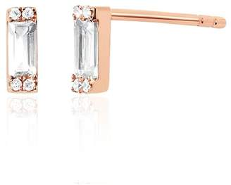 Ef Collection 14K Rose Gold Baguette White Topaz & Diamond Detail Stud Earrings