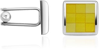 Forzieri Enamel Checked Silver Plated Square Cuff Links