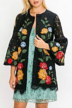 Champagne & Strawberry Crochet Lace Jacket