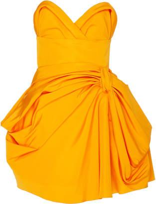 09c44fea12d269 Carolina Herrera Strapless Bow-Embellished Silk-Poplin Mini Dress