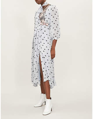 Temperley London Storm neck-tie crepe-chiffon midi dress
