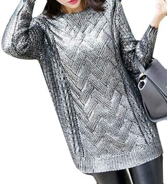 Cromoncent Womens Sparkle Glossy Long Sleeve Crewneck Knit Pullover Sweater