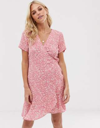 Stradivarius wrapped short dress in Pink