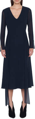 Akris Long-Sleeve Silk Midi Car Wash Dress