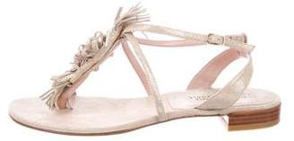 Stuart Weitzman T-Strap Metallic Sandals