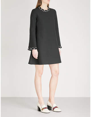 Gucci Diamanté-embellished wool and silk-blend dress