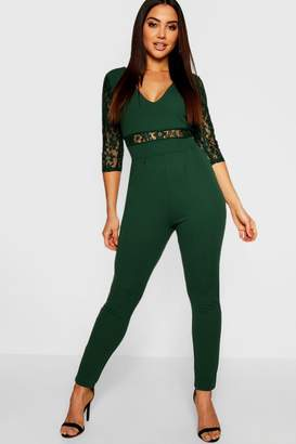boohoo Lace Insert And Sleeve Jumpsuit