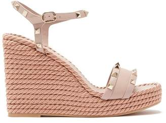 48074ce46e00 Valentino Torchon Rockstud Leather Wedge Sandals - Womens - Nude