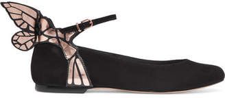Sophia Webster Chiara Metallic Leather-trimmed Suede Ballet Flats - Black