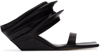 Rick Owens black 100 strappy wedge mule leather sandals