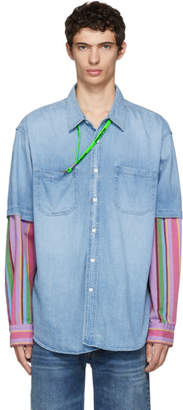 Balenciaga Blue Denim Striped Double Sleeve Shirt