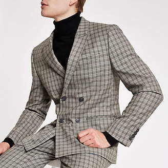 River Island Ecru check double breasted skinny suit jacket