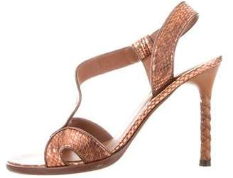 Bottega Veneta Metallic Slingback Sandals