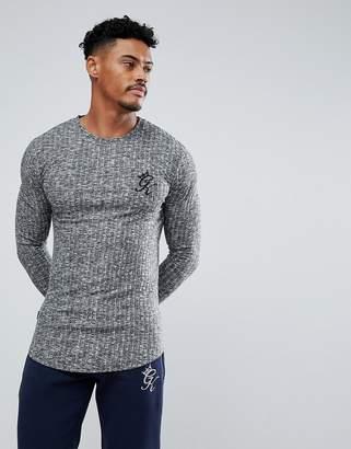 Gym King Muscle Long Sleeve T-Shirt In Gray Rib