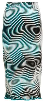 Issey Miyake Flow Cosmic Wave Pleated Skirt - Womens - Green Multi