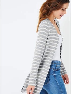 George Light Grey Striped Soft Touch Cardigan