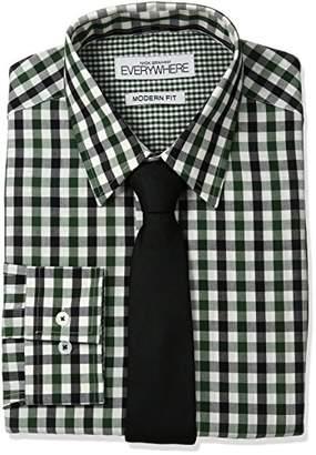 Nick Graham Everywhere Men's Gingham Dress Shirt and Tie Set