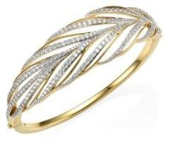 Adriana Orsini Pirouette Leaf Crystal Bangle Bracelet