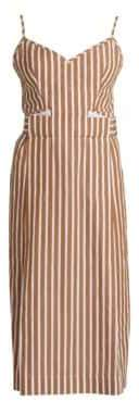 Victoria Beckham Women's Cami Pleated-Front Sleeveless Striped Dress - Tan/White - Size UK 8 (4)